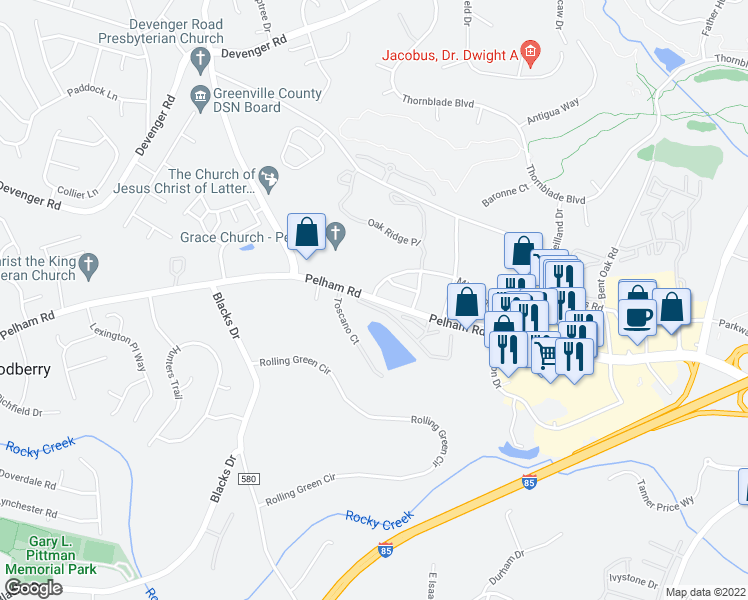 map of restaurants, bars, coffee shops, grocery stores, and more near 3374-3946 Pelham Road in Greenville