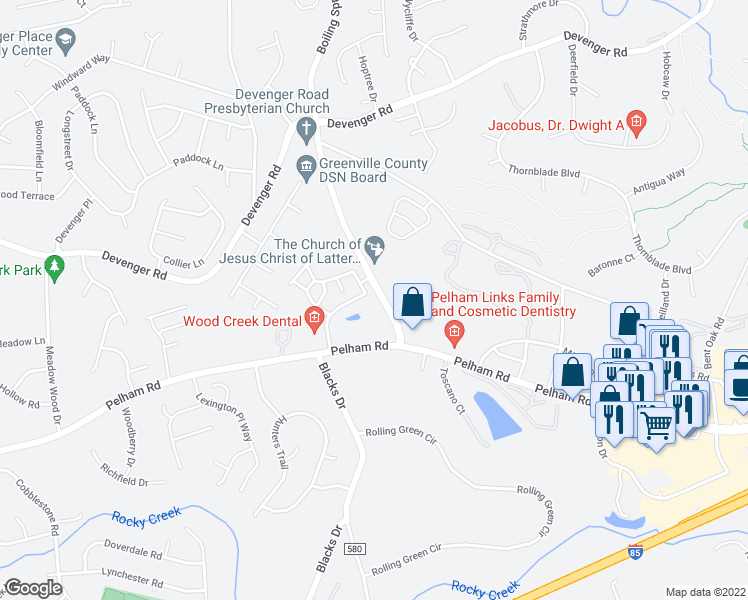 map of restaurants, bars, coffee shops, grocery stores, and more near 201-203 Braelock Dr in Greenville