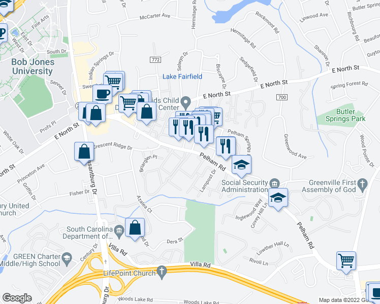 map of restaurants, bars, coffee shops, grocery stores, and more near 230 Pelham Road in Greenville