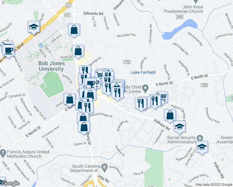 map of restaurants, bars, coffee shops, grocery stores, and more near 2518 E North St in Greenville