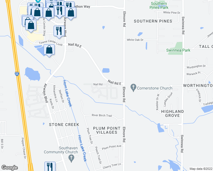 map of restaurants, bars, coffee shops, grocery stores, and more near Nail Road East in Southaven