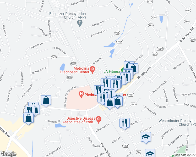 map of restaurants, bars, coffee shops, grocery stores, and more near 1773 Ebenezer Rd in Rock Hill