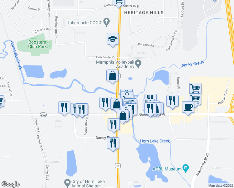 map of restaurants, bars, coffee shops, grocery stores, and more near 7199 Highway 51 in Southaven