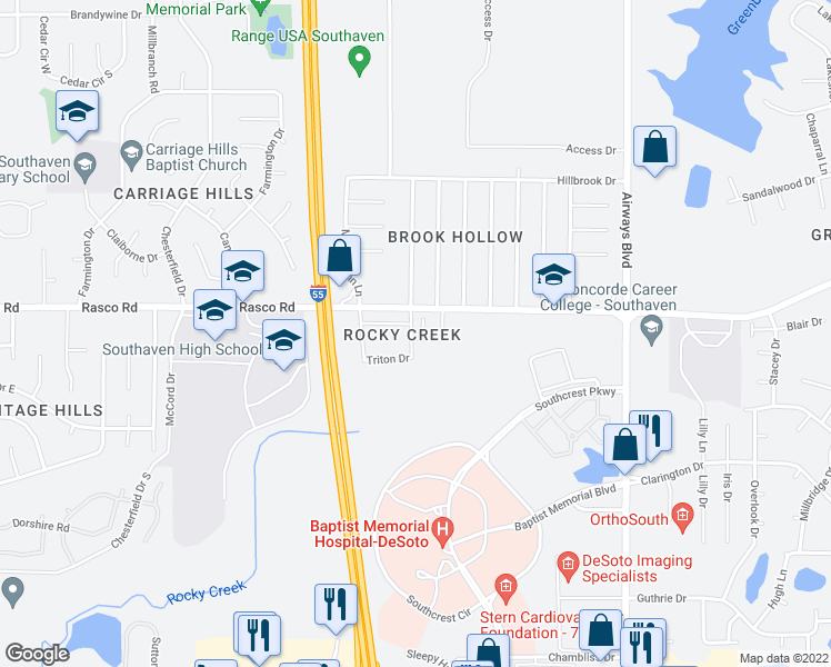 map of restaurants, bars, coffee shops, grocery stores, and more near 400-598 Jan Drive in Southaven