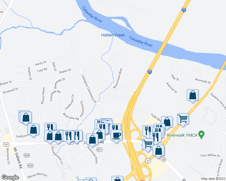 map of restaurants, bars, coffee shops, grocery stores, and more near 1649-1699 Riverchase Blvd in Rock Hill