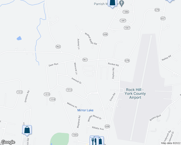 map of restaurants, bars, coffee shops, grocery stores, and more near 4226 Cornelia Lane in Rock Hill