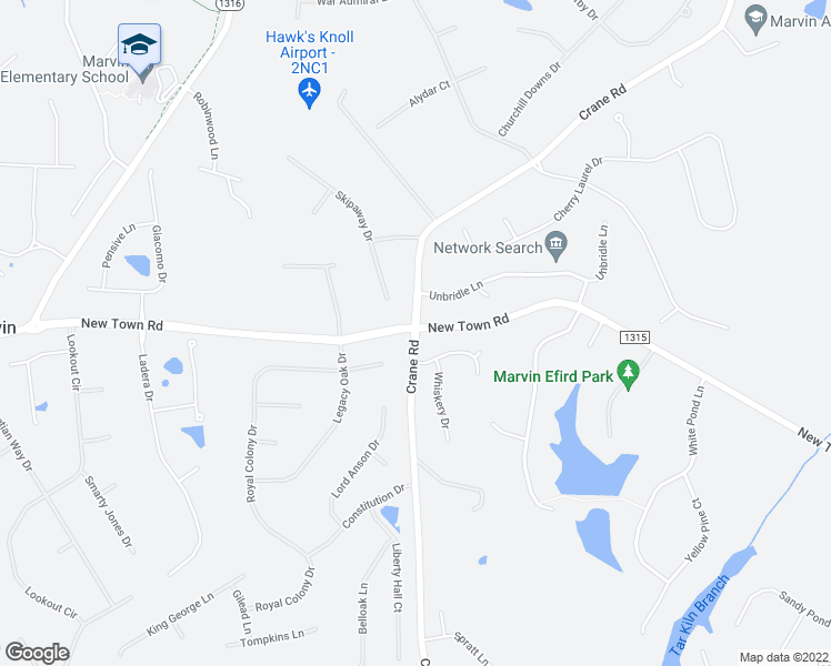 map of restaurants, bars, coffee shops, grocery stores, and more near 9000 Skipaway Drive in Waxhaw