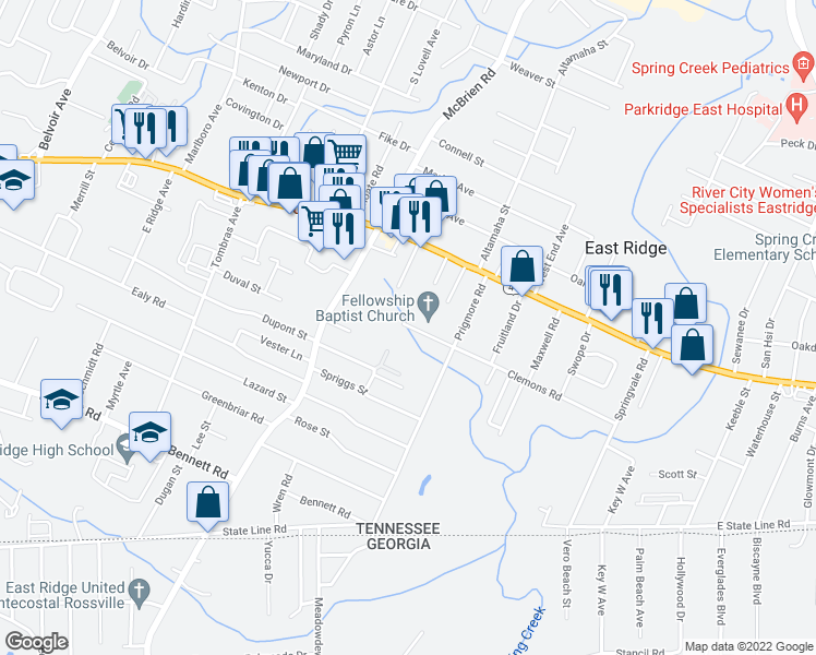 map of restaurants, bars, coffee shops, grocery stores, and more near 5322 Clemons Rd in East Ridge