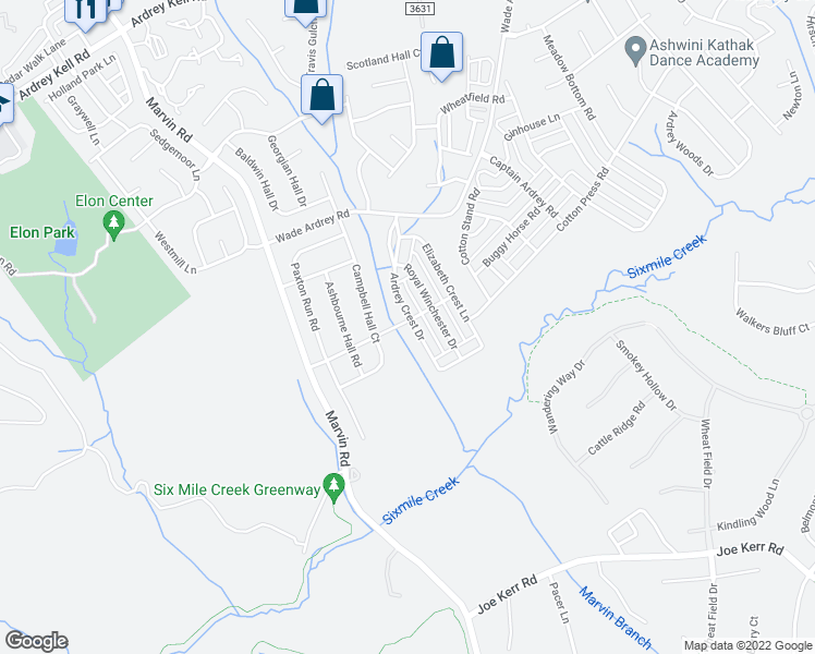 map of restaurants, bars, coffee shops, grocery stores, and more near 11438 Ardrey Crest Drive in Charlotte