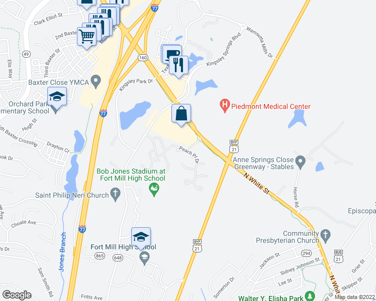 map of restaurants, bars, coffee shops, grocery stores, and more near Peach Lane in Fort Mill
