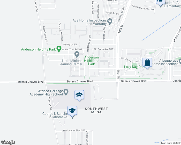 map of restaurants, bars, coffee shops, grocery stores, and more near 3308 Rio Largo Dr SW in Albuquerque
