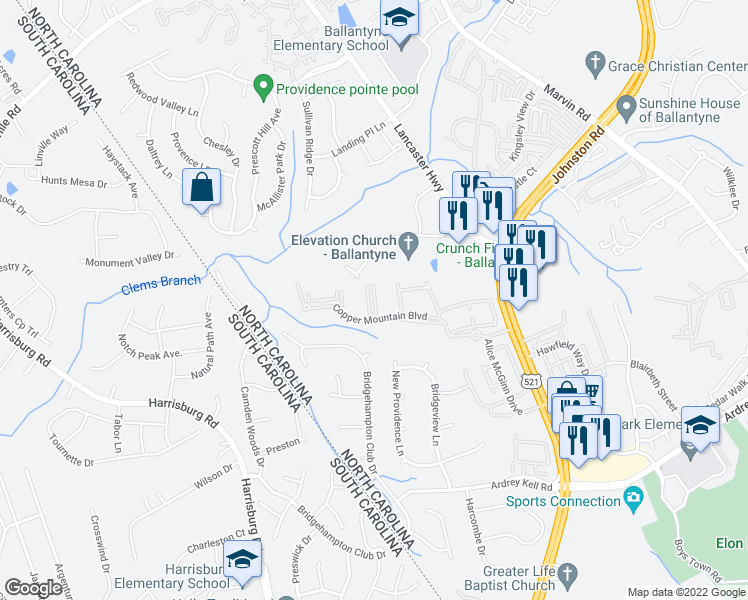 map of restaurants, bars, coffee shops, grocery stores, and more near 17168 Red Feather Dr in Charlotte