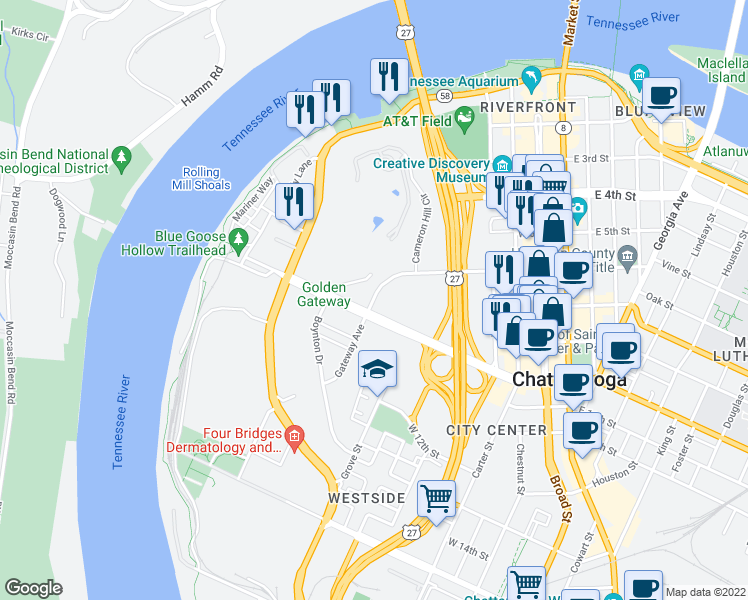 map of restaurants, bars, coffee shops, grocery stores, and more near Arcadia Avenue in Chattanooga