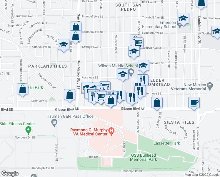map of restaurants, bars, coffee shops, grocery stores, and more near 1180 Alvarado Drive Southeast in Albuquerque
