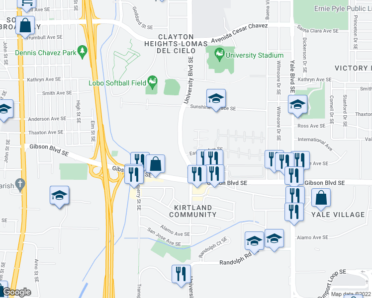 map of restaurants, bars, coffee shops, grocery stores, and more near 1817 Ash Court Southeast in Albuquerque