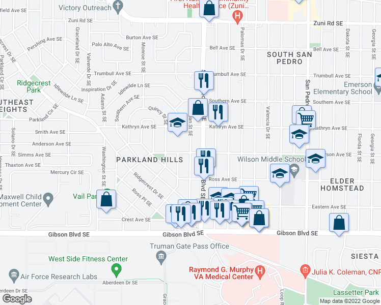 map of restaurants, bars, coffee shops, grocery stores, and more near Truman Street Southeast in Albuquerque
