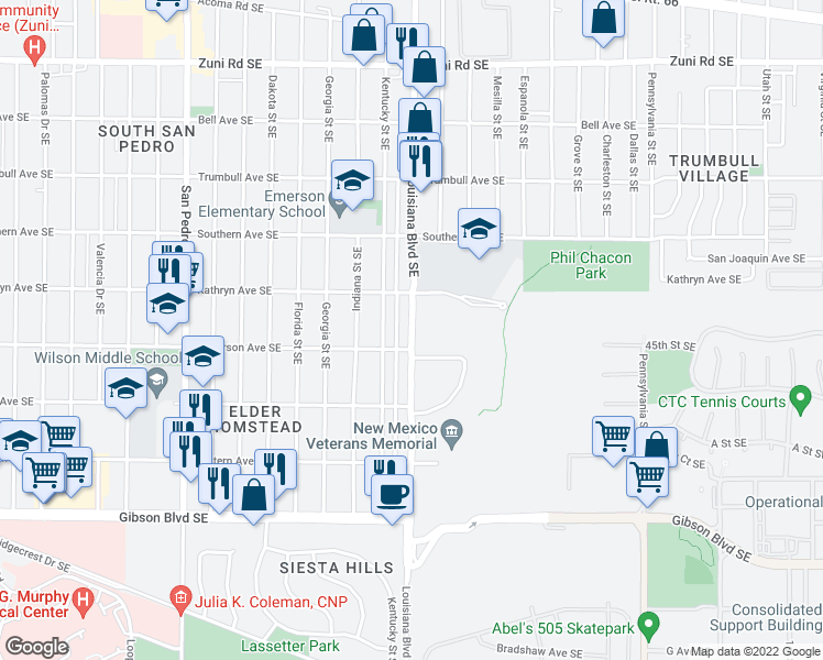 map of restaurants, bars, coffee shops, grocery stores, and more near 820 Louisiana Boulevard Southeast in Albuquerque