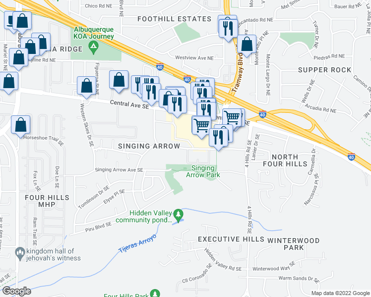 map of restaurants, bars, coffee shops, grocery stores, and more near 13150 Wenonah Avenue Southeast in Albuquerque