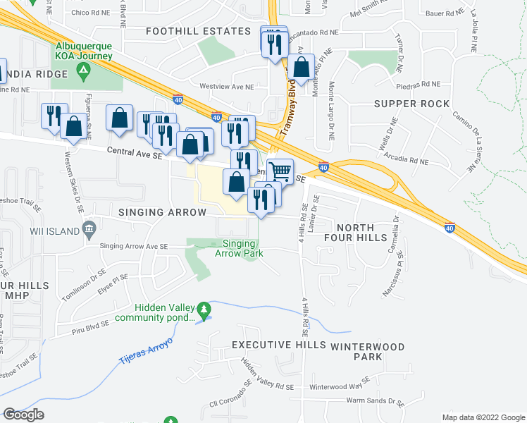 map of restaurants, bars, coffee shops, grocery stores, and more near Tramway Blvd SE & Wenonah Ave SE in Albuquerque