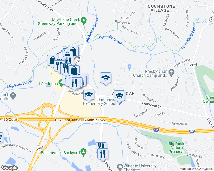 map of restaurants, bars, coffee shops, grocery stores, and more near 7200-7498 Endhaven Ln in Charlotte