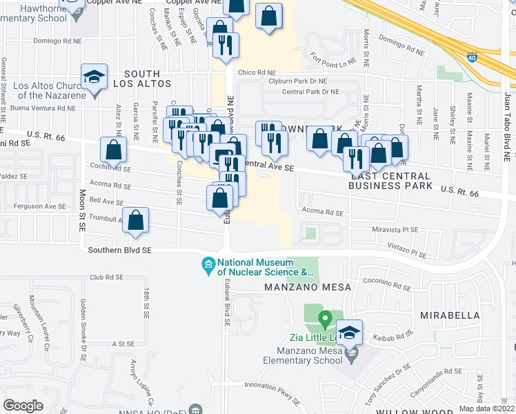map of restaurants, bars, coffee shops, grocery stores, and more near 15 in Albuquerque