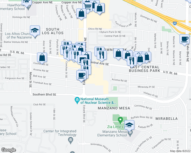 map of restaurants, bars, coffee shops, grocery stores, and more near 7 in Albuquerque