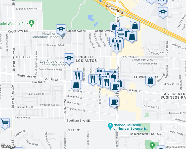 map of restaurants, bars, coffee shops, grocery stores, and more near 10000-10098 Buena Ventura Road Northeast in Albuquerque