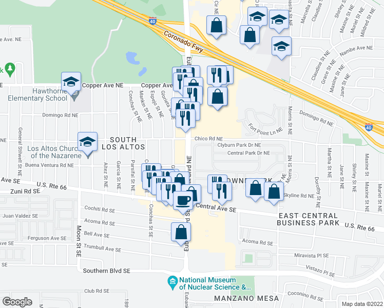 map of restaurants, bars, coffee shops, grocery stores, and more near 10409 Clyburn Park Drive Northeast in Albuquerque