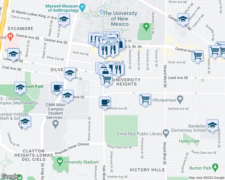 map of restaurants, bars, coffee shops, grocery stores, and more near 320 Harvard Dr SE in Albuquerque