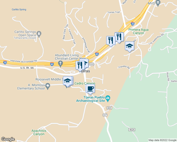 map of restaurants, bars, coffee shops, grocery stores, and more near 11820-11862 Highway 337 in Tijeras
