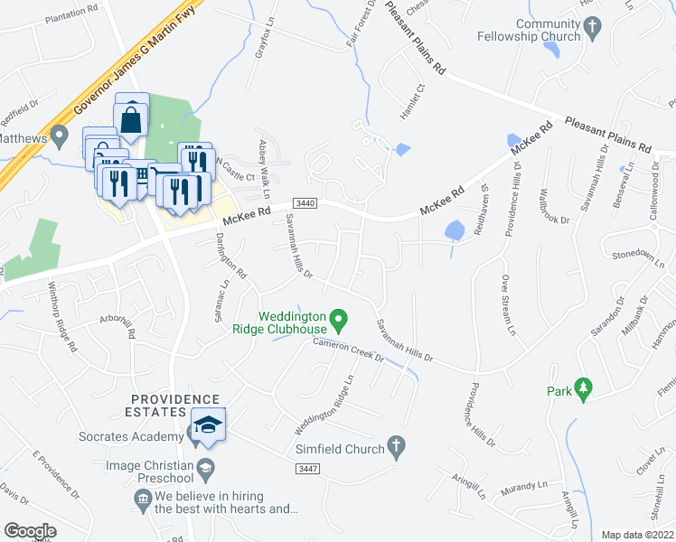 map of restaurants, bars, coffee shops, grocery stores, and more near 7410 Leahurst Court in Matthews