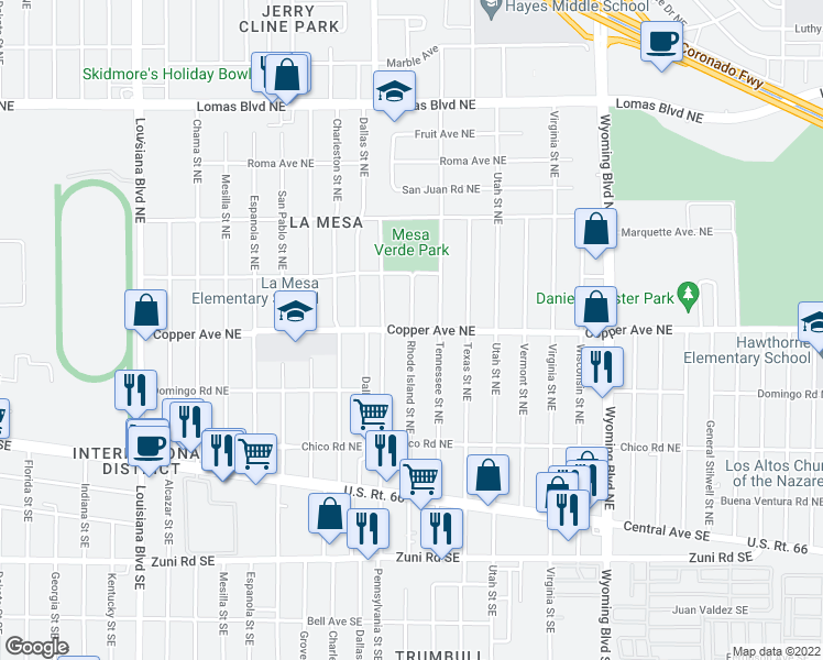 map of restaurants, bars, coffee shops, grocery stores, and more near Copper Ave NE & Rhode Island St NE in Albuquerque