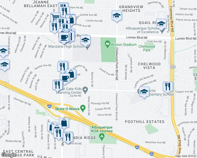 map of restaurants, bars, coffee shops, grocery stores, and more near 625 Figueroa St NE in Albuquerque