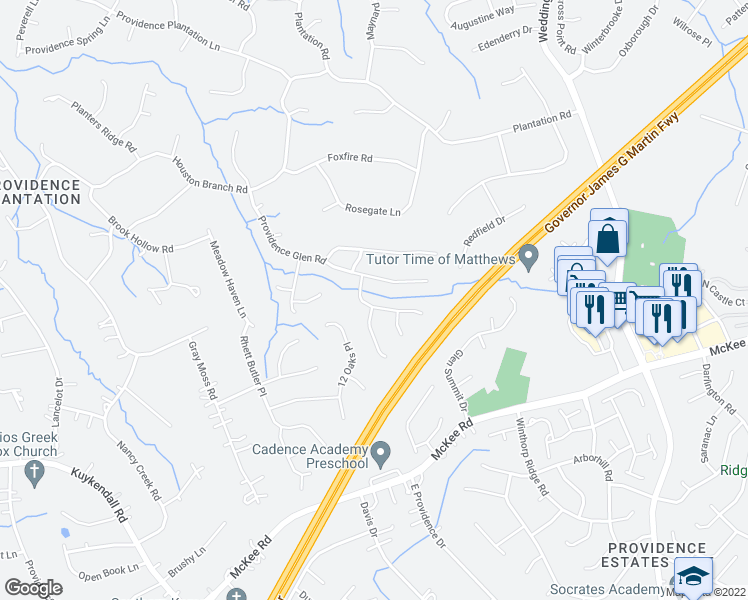 map of restaurants, bars, coffee shops, grocery stores, and more near 2635 Cotton Planter Lane in Charlotte