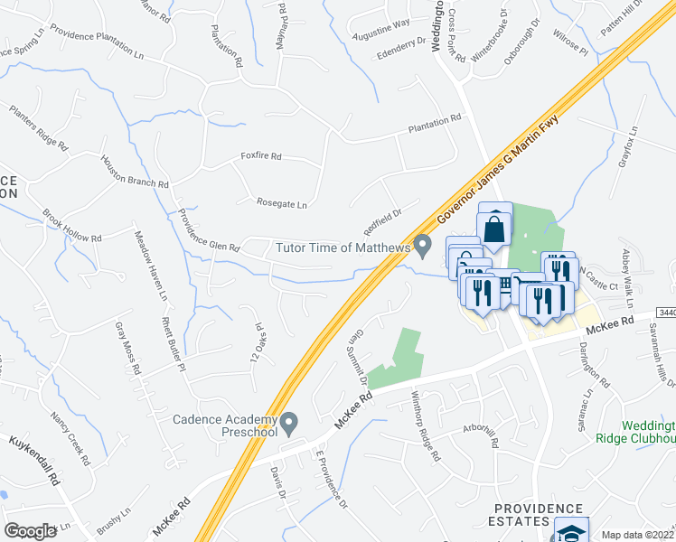 map of restaurants, bars, coffee shops, grocery stores, and more near 5501 Providence Glen Road in Charlotte