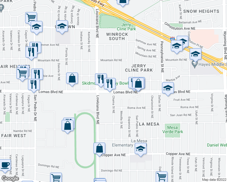 map of restaurants, bars, coffee shops, grocery stores, and more near Lomas Blvd NE in Albuquerque