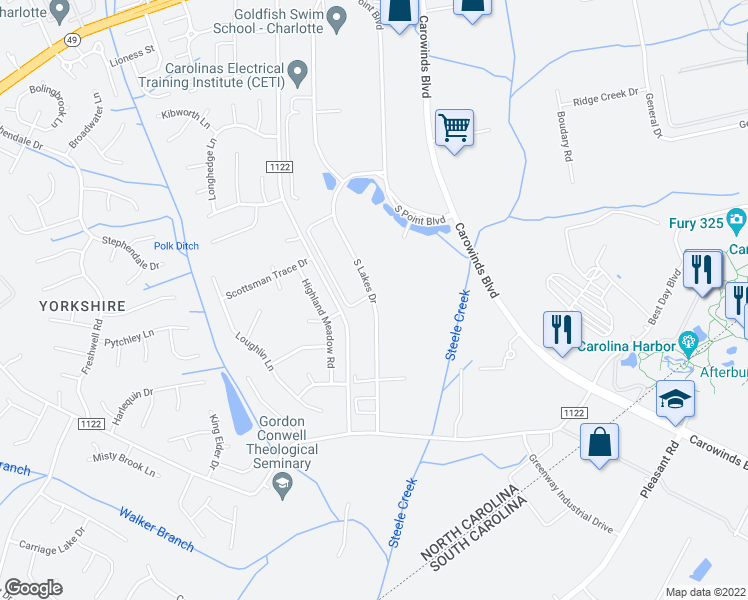map of restaurants, bars, coffee shops, grocery stores, and more near South Lakes Drive in Charlotte