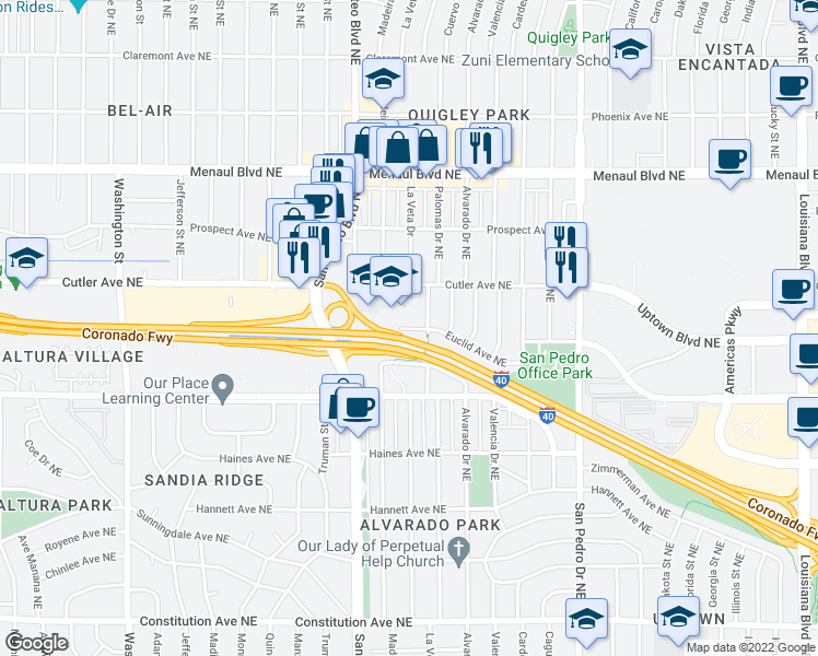 map of restaurants, bars, coffee shops, grocery stores, and more near 2301 Palomas Drive in Albuquerque