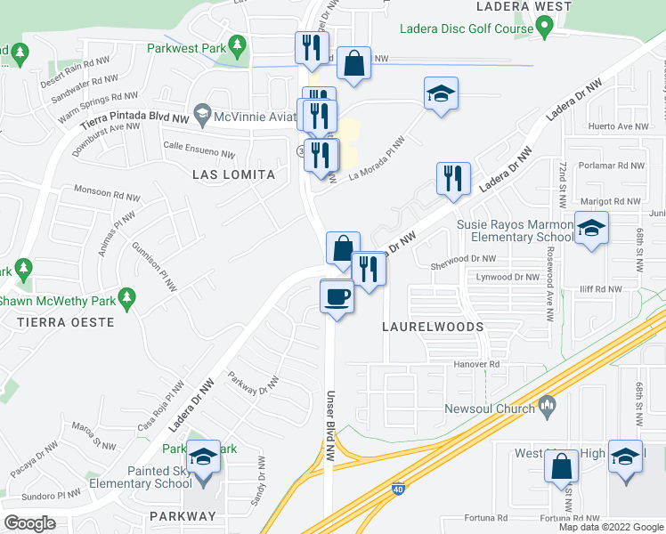map of restaurants, bars, coffee shops, grocery stores, and more near Unser Blvd NW & Ladera Dr NW in Albuquerque