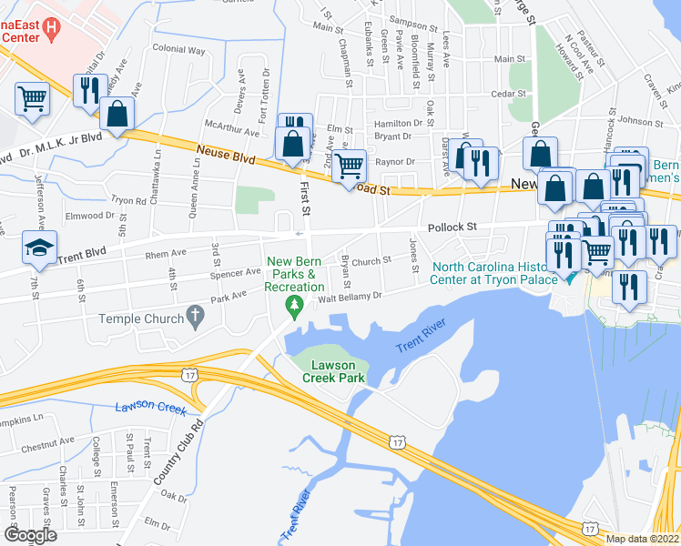 map of restaurants, bars, coffee shops, grocery stores, and more near 205 Bryan Street in New Bern
