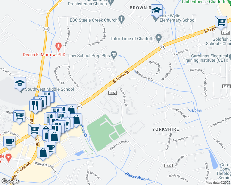 map of restaurants, bars, coffee shops, grocery stores, and more near 13207 Arbor Trace Drive in Charlotte