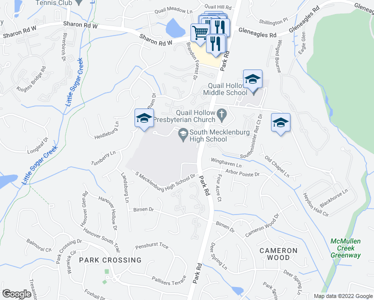 map of restaurants, bars, coffee shops, grocery stores, and more near 8944-9040 Park Road in Charlotte