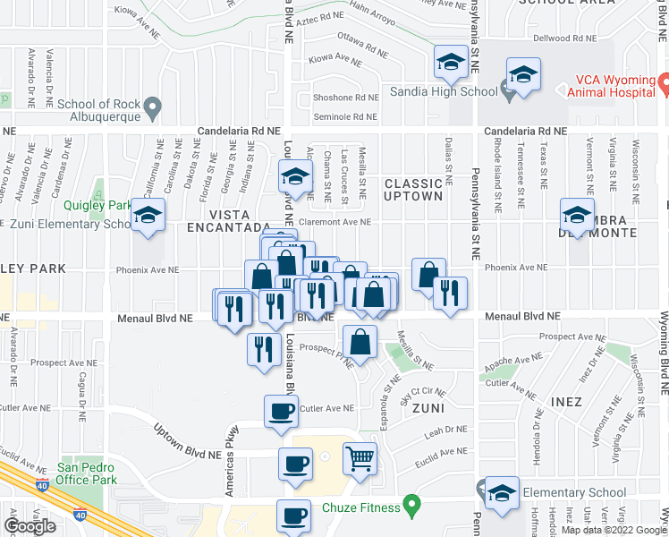 map of restaurants, bars, coffee shops, grocery stores, and more near 7000 Phoenix Avenue Northeast in Albuquerque