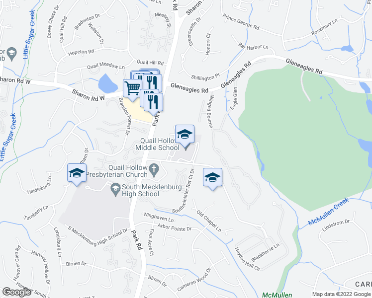 map of restaurants, bars, coffee shops, grocery stores, and more near 2901 Smithfield Church Road in Charlotte