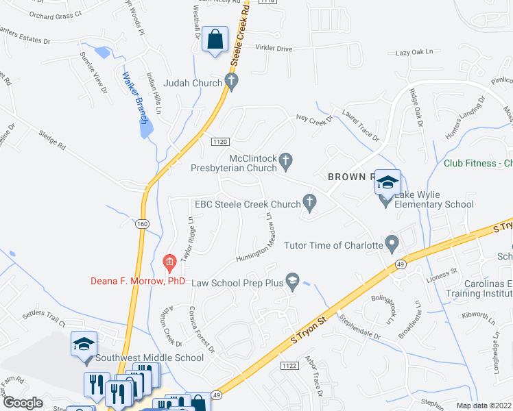 map of restaurants, bars, coffee shops, grocery stores, and more near 15126 Callow Forest Drive in Charlotte