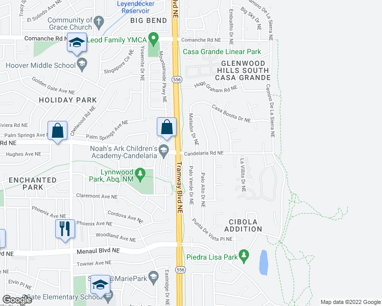 map of restaurants, bars, coffee shops, grocery stores, and more near Candelaria Rd NE & Palo Verde Dr NE in Albuquerque