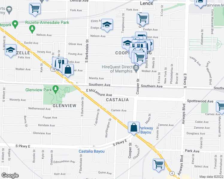 map of restaurants, bars, coffee shops, grocery stores, and more near 2027 Southern Avenue in Memphis