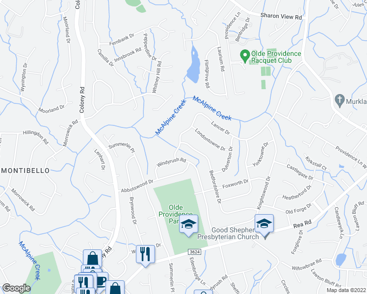 map of restaurants, bars, coffee shops, grocery stores, and more near 7744 Bedfordshire Drive in Charlotte