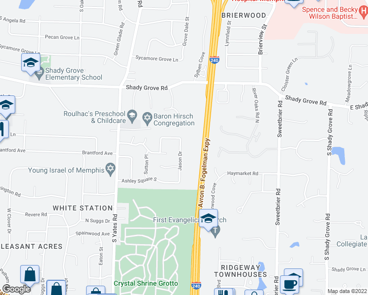 map of restaurants, bars, coffee shops, grocery stores, and more near 450 Jason Dr in Memphis