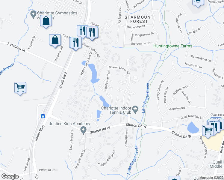 map of restaurants, bars, coffee shops, grocery stores, and more near 7969 Shady Oak Trail in Charlotte